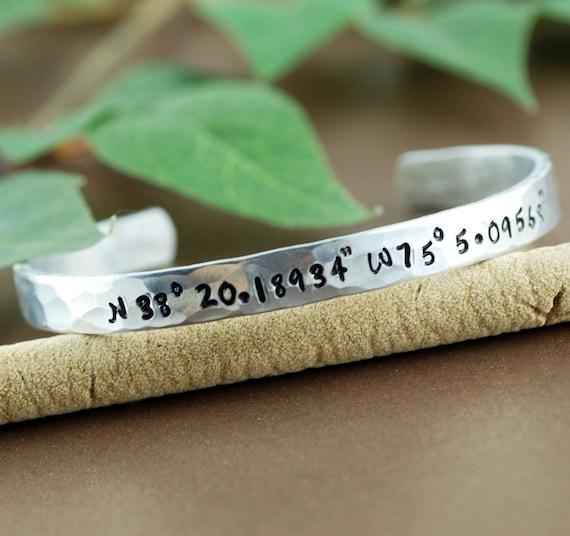 Coordinate Cuff Bracelet, Personalized Bracelets, Longitutde Latitude Jewelry, Custom Coordinates, Location Bracelet, Custom Cuff Bracelets