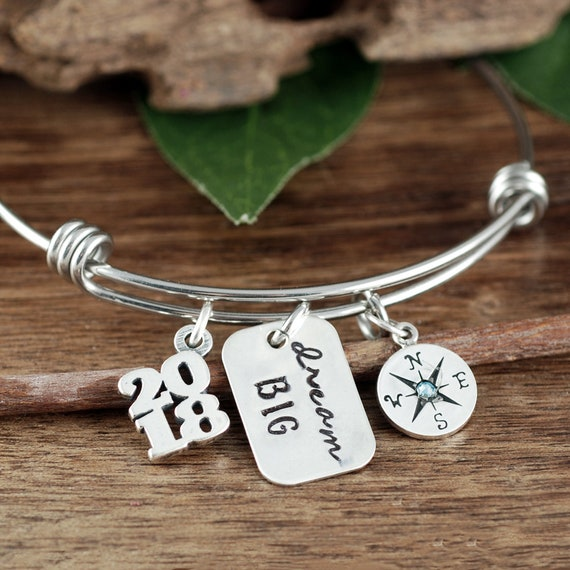 Graduation Bracelet, Personalized Compass Bracelet, Dream Big, Inspirational Gift, Class of 2018 High School, College Graduation Gift