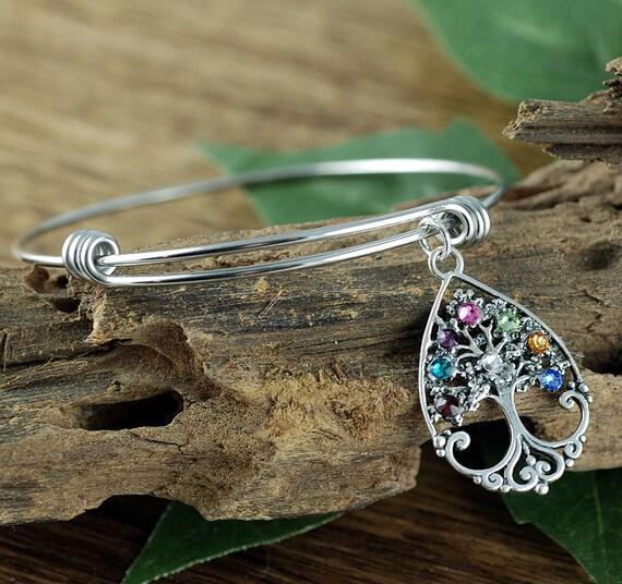 Family Tree Birthstone Bracelet, Sterling Silver Tree of Life Bangle Bracelet, Grandma Charm Bracelet, Mothers Day Gift, Gift for Grandma