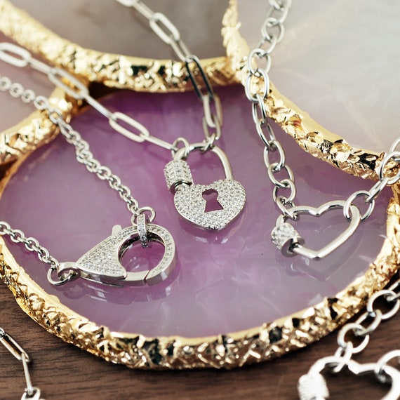 Carabiner Necklace, Screw Clasp Chain Link Necklace, Carabiner Heart Jewelry, Link Necklace, Trendy Necklace, Layering Necklaces