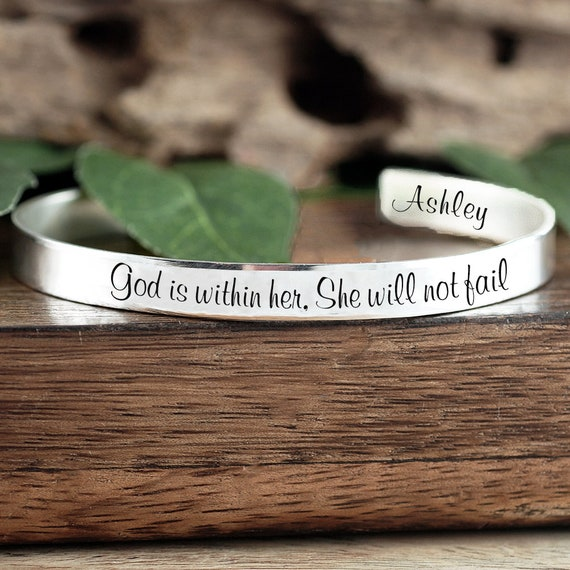 God is within her, She will not Fail Bracelet, Religious Quote Bracelet, Inspirational Bracelet, Spiritual Gift for women, Religious Jewelry