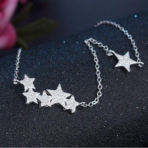 Sterling Silver Star Necklace, Shiny Cubic Zirconia Star Pendant, Star Necklace Chain, Minimalist Necklace, Celestial Star Necklace
