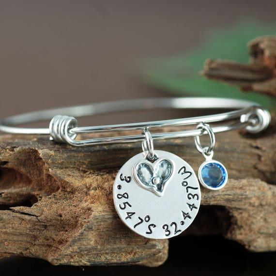 Coordinate Bracelet, Heart Bangle, Personalized Bangle Bracelet, Silver Bangle Charm Bracelet, Birthstone Bangle, Coordinate Jewelry