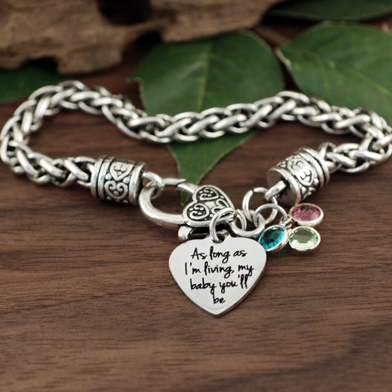 As long as I'm Living my Baby you'll be, I'll love you forever, IMother's Day Gift, Bracelet for Mom, Like you for Always, For Daughter