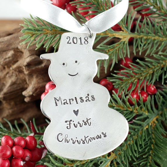 Engraved Christmas Ornament, Baby's First Christmas Ornament, Snowman Christmas Ornament, New Baby Ornament, Christmas Gift for New Mom