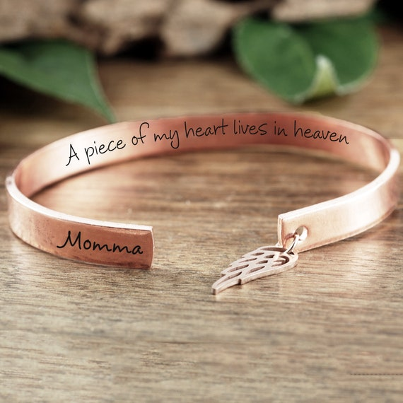 A piece of my heart lives in heaven Gift, Personalized Memorial Bracelets, Sympathy Gift, Loss of Parent Gift, Remembrance Jewelry