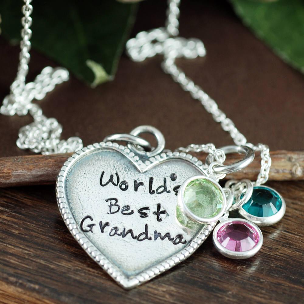 grandma jewelry grandma birthstone necklace gift for grandma nana