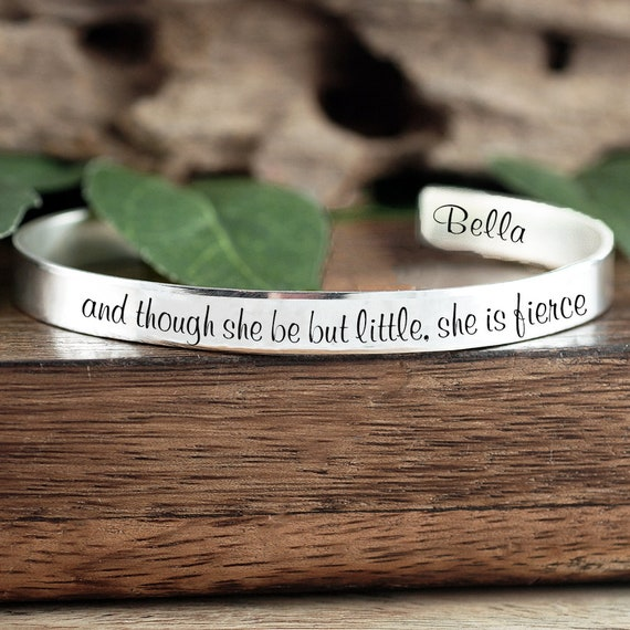 and though she be but little, She is Fierce, She is Fierce Bracelet, Shakespeare Quote Necklace, Inspirational Necklace, Custom Text Gift