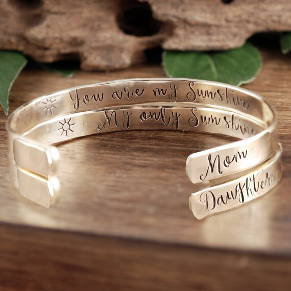 Your are my Sunshine Bracelet, My Only Sunshine Bracelet, You are my Sunshine Jewelry, Custom Cuff Bracelet, Mother Daughter Bracelet Set