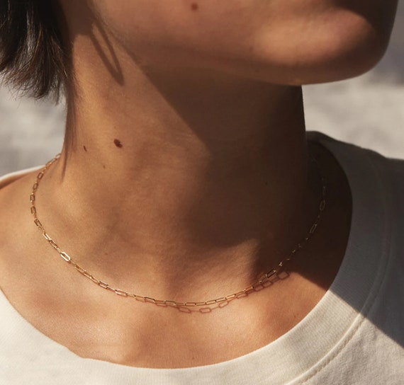 Gold Stainless Steel Paperclip Necklace, Chain Necklace, Paperclip Chain, 316 Stainless chain, Necklace for Women, Chain Choker for women