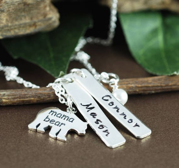 Hand Stamped Mom Necklace, Mama Bear Name Necklace, Bear Jewelry, Mother Daughter Necklace, Gift for Mom, Mothers Day Gift, Kids Names