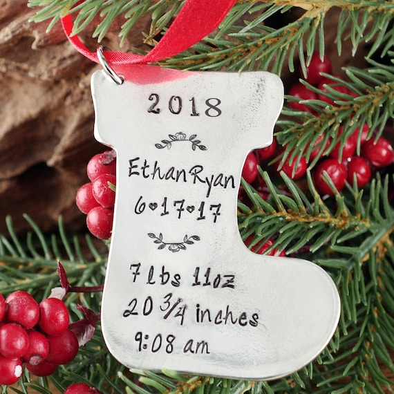 Baby Stats Ornament, Baby's First Christmas Ornament, Stocking Ornament, Engraved Christmas Ornament, New Baby Ornament, Gift for New Mom