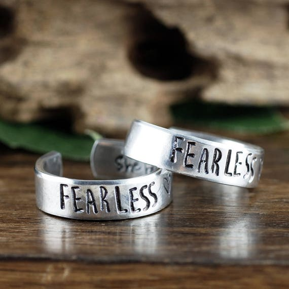 Fearless Ring, She Believed she could So she Did, Secret Message Ring, Boho Ring, Custom Cuff Ring, Bohemian Ring, Personalized Pewter Ring