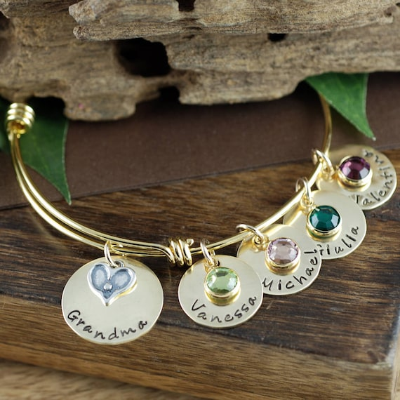 Personalized Grandma Bracelet, Gold Heart Bangle, Personalized Bangle Bracelet, Charm Bracelet, Birthstone Bangle, Gift for Grandma, Nana