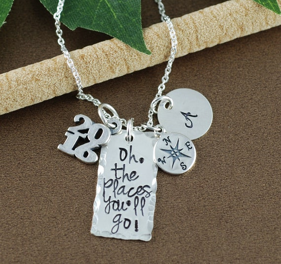 Personalized Oh the Places You'll Go Graduation Necklace | Graduation Gift Necklace | Hand Stamped Necklace | Gift for Graduate | Compass
