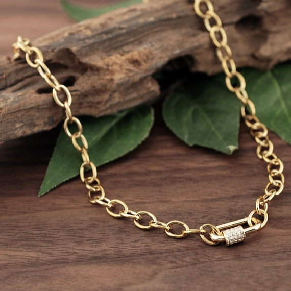 Carabiner Necklace, Screw Clasp Chain Link Necklace, Carabiner Jewelry, Gold Link Necklace, Paperclip Necklace, Layering Necklace