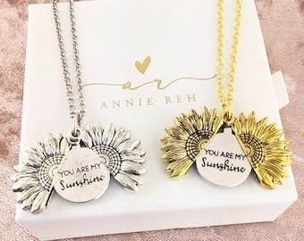 You are my Sunshine Necklace, Silver Sunshine Necklace, Sunshine Jewelry, Sunshine Pendant, Flower Necklace, Sunflower Pendant