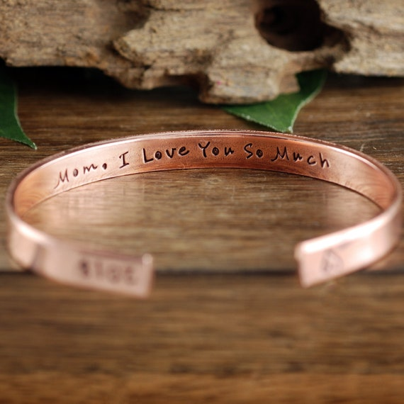 Mom I Love you Cuff Bracelet,Mother's Day Gift, Cuff Bracelets, Personalized Jewelry, Hand Stamped Bracelet, GIft for Mom, Mom Jewelry