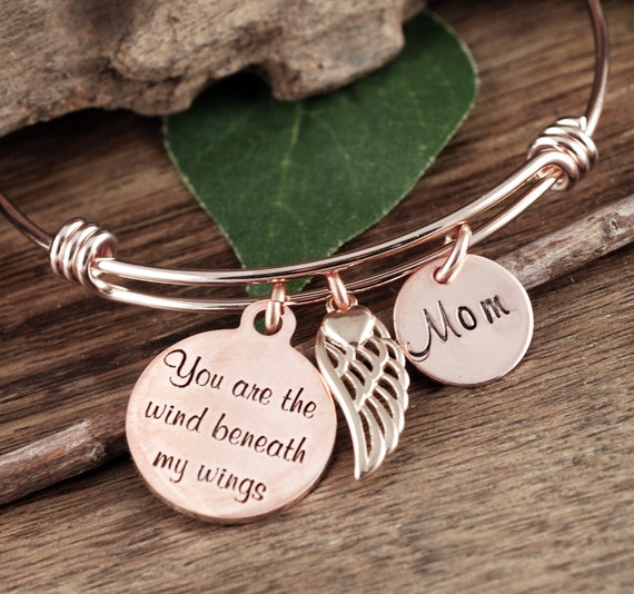 Memorial Jewelry, You are the wind beneath my wings, Remembrance Gift, Bangle Bracelet, Gift for Mom, Wing Bracelet, Sympathy Gift
