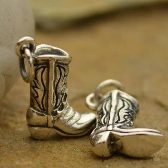 Add On - Sterling Silver Cowboy Boot Charm, Can add on to a Necklace or Bracelet