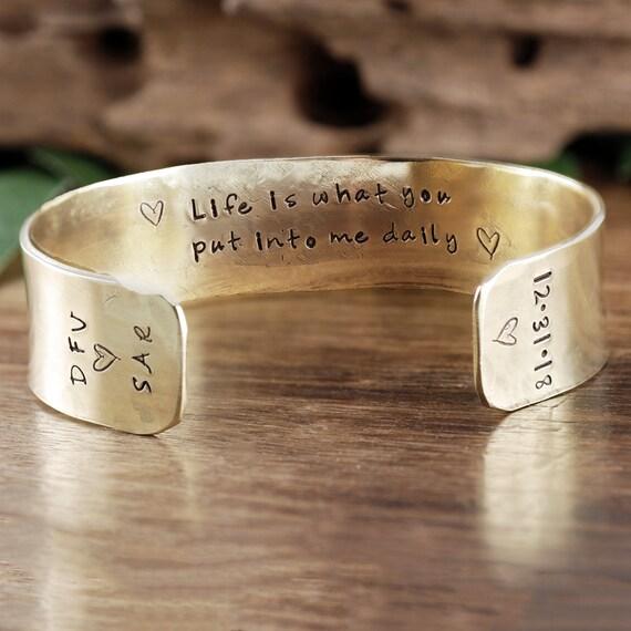 Personalized Cuff Bracelet, Anniversary Cuff Bracelet, Custom Bracelet, Gold Cuff Bracelet, Inspirational Bracelet, Women's Jewelry
