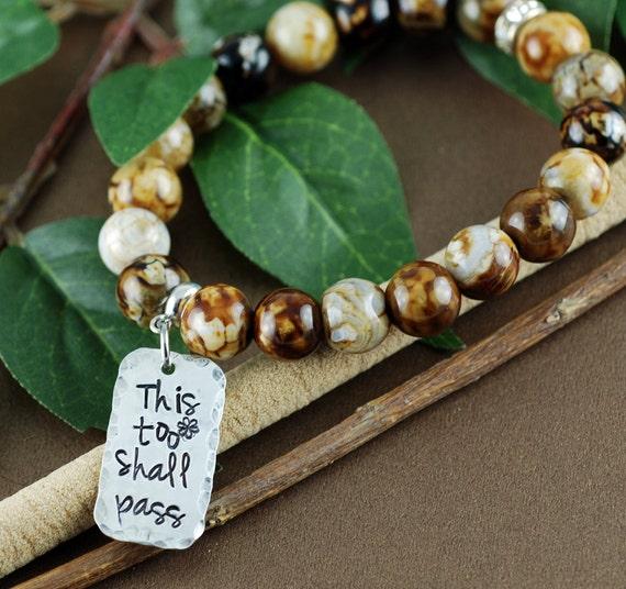 This too Shall Pass Bracelet, Inspirational Bracelet, Fire Agate Stretch Bracelet, Motivatonal Gift, Gift for BFF, Best Friend Bracelet