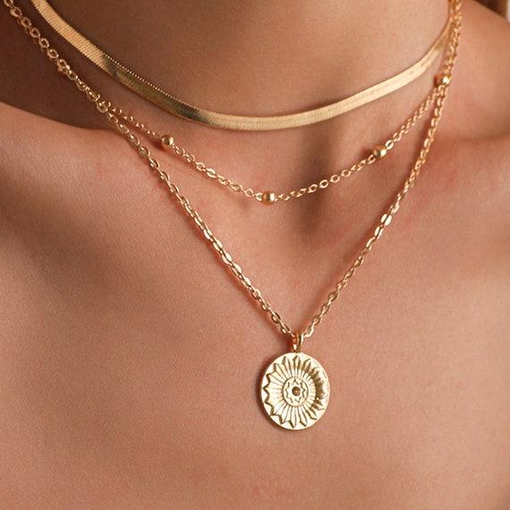 MutliLayered Choker Necklace, Sunshine Necklace, Minimalist Necklace, Sunburst Necklace, Daughter Gift