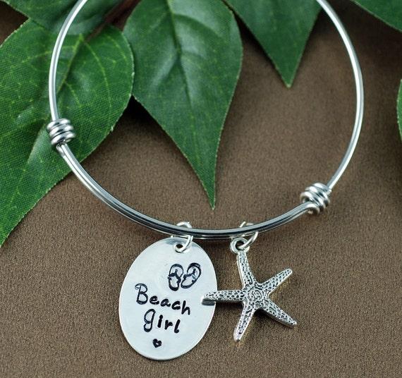 Starfish Bracelet, Beach Girl Bangle Bracelet, Flip Flop Jewelry, Silver Bangle Bracelet, Hand Stamped, Charm Bracelet, Beach Gift