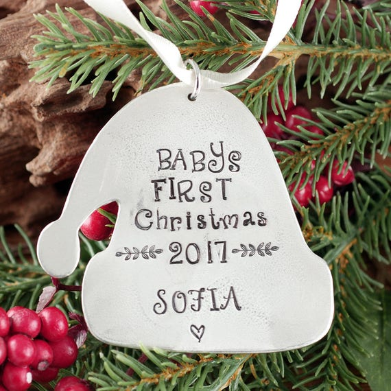 Baby's First Christmas Ornament, Santa Hat Ornament, Engraved Christmas Ornament, New Baby Ornament, Christmas Gift for New Mom,Gift for Her