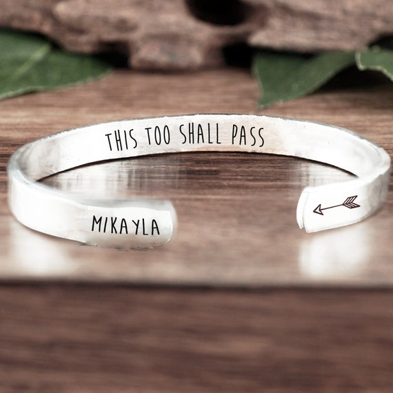 This too Shall Pass Cuff Bracelet, Inspirational Gift, Friendship Bracelet, Birthday Gift for Friend, Motivational Gift, Friend Gift
