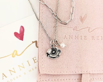 Sterling Silver Poppy Flower Necklace, Dainty Floral Necklace, Minimal Floral Charm. Simple Delicate, Dainty Everyday Jewelry Gift for Her