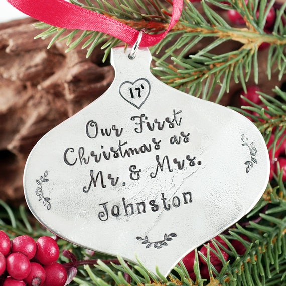 Our FIrst Christmas Ornament, Personalized Christmas Ornament, Engraved Christmas Ornament, Family Ornament, Christmas Gift for Family