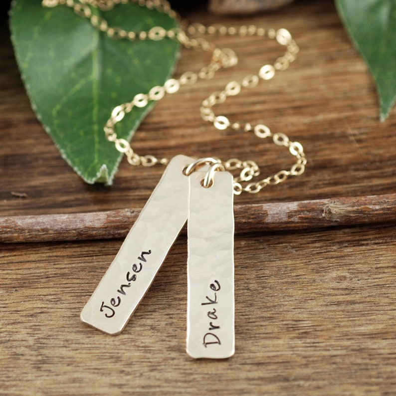 Gold Name Bar Necklace Hand Stamped Jewelry Mother's image 0