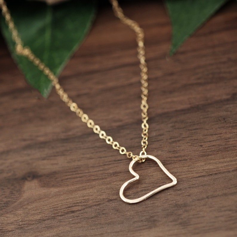 14kt Gold Filled Open Heart Necklace Heart Necklace Heart image 0