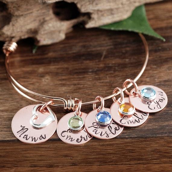 Rose Gold Nana Bracelet, Personalized Grandma Bracelet, Hand Stamped Grandma Jewelry, Personalized Jewelry, Gift for Her, Gift for Nana