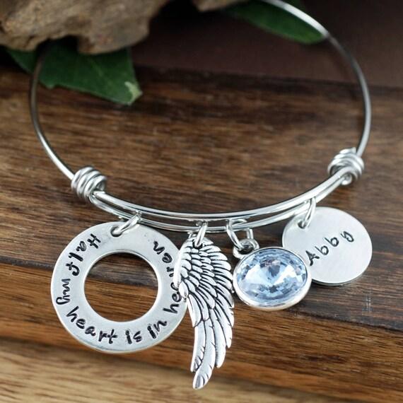 Half my Heart is In Heaven, Memorial Angel Bangle Bracelet, Bereavement Jewelry, Hand Stamped Bracelet, Parent Loss, Loss of Parent