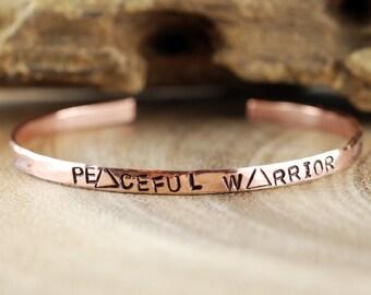 Peaceful Warrior Cuff Bracelet, Yoga Inspired Bracelet, Personalized Cuff Bracelet, Skinny Cuff, Triangle Cuff Bracelet, Stacking Bracelet