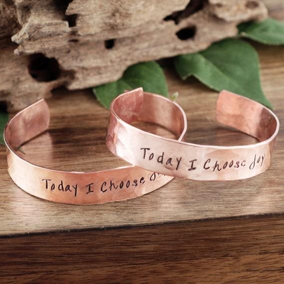 Inspirational Cuff Bracelet, Custom Cuff Bracelet, Message Cuff Bracelet, Personalized Bracelet, Today I Choose Joy, Motivational Gift