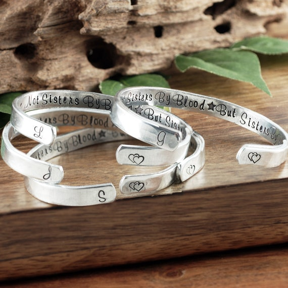 Best Friend Jewelry, Not Sisters By Blood But Sisters By Heart, Unbiological Sisters Bracelet, Secret Message Bracelet, BFF Bracelet