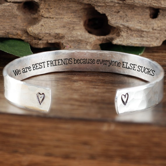We are best friends because everyone else SUCKS, Best Friend Bracelet, Friendship Bracelet, Birthday Gift, Gift for Her