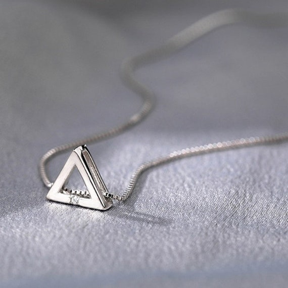 Sterling Silver, Shiny Triangle Necklace, Cubic Zircon Circle, Pendant, Gift For Girl, Box chain Choker, Collar Necklace, Clavicle Necklace