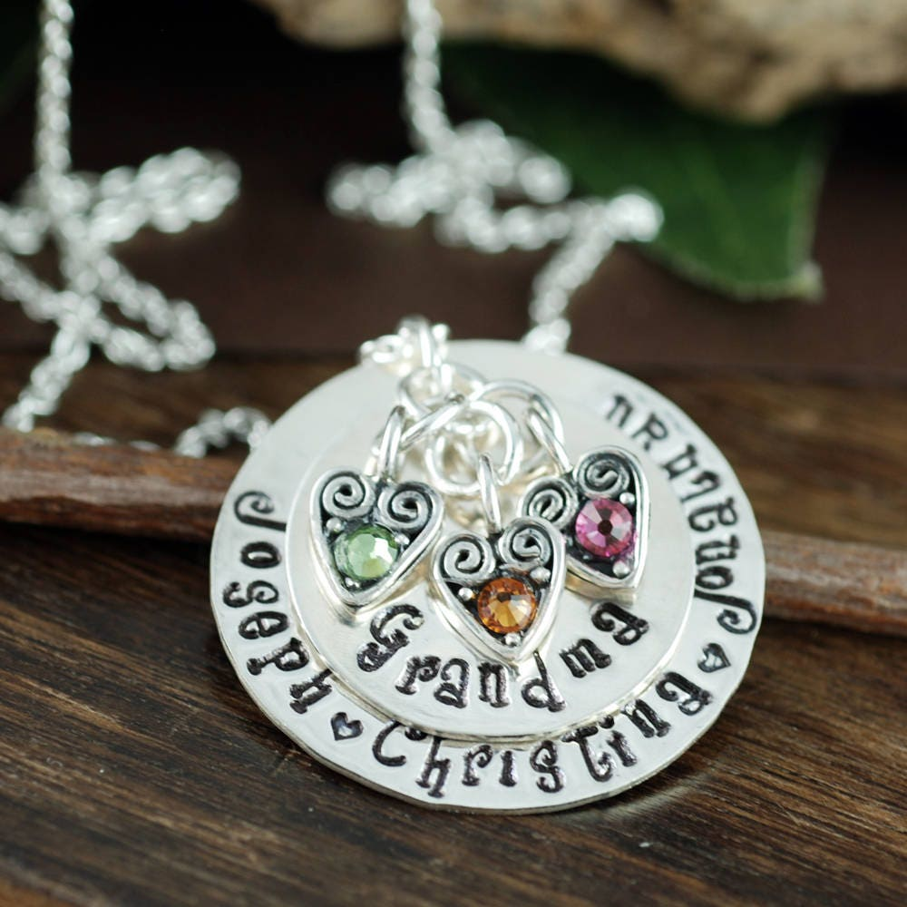 personalized grandma necklace engraved necklace grandmother