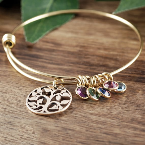 Gold Family Tree Bracelet for Grandma, Tree of Life Bracelet, Family Tree Grandma Bracelet, Birthstone Charm Bracelet,Gift for Grandma