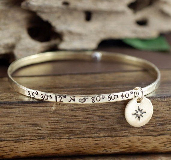 Coordinate Jewelry, Location Bracelet with Coordinates, Compass Jewelry, GIft for Graduation, Longitude Latitude Bracelet, Gift for Her