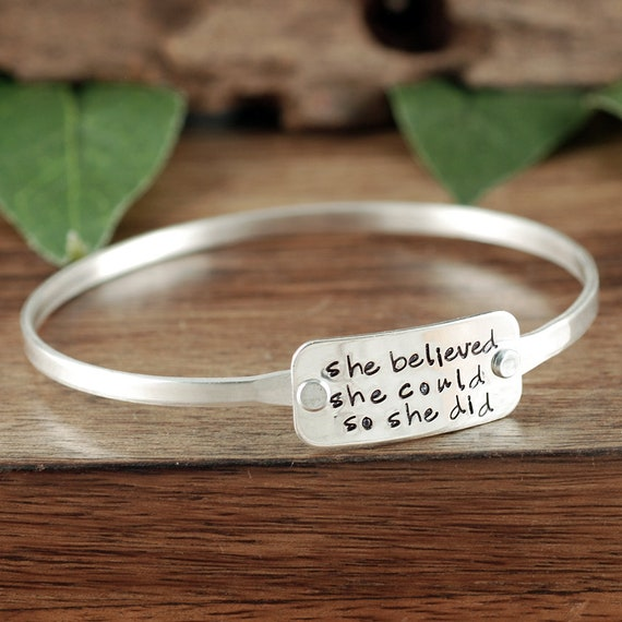 She Believed She Could So She Did, Custom Bangle Bracelet, Inspirational Bracelet, Gift for Graduate, Graduation Jewelry, Motivating Gift
