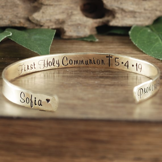 Personalized Communion Bracelet, First Holy Communion Gift, Bible Verse Jewelry, Custom Cuff Bracelet, Confirmation Bracelet, Religious Gift