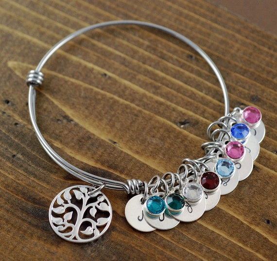 Silver Tree of Life Bracelet, Family Tree Bracelet, Silver Bangle, Tree of Life Bangle, Initial Bangle Bracelet, Birthstone Bracelet