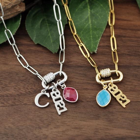 Graduation Carabiner Necklace, Screw Clasp Chain Link Necklace, Carabiner Jewelry, Gold Link Necklace, Paperclip Necklace, Charm Necklace