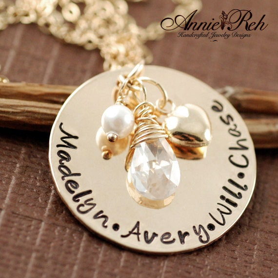 Personalized Grandma Necklace, Custom Necklace for Mom, Gold Hear Jewelry, Gift for Mom, Mother's Day Gift, Personalized Mother Necklace