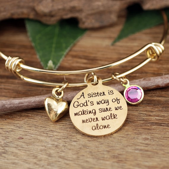 Gifts for Sister, Sister Gift, Sisters Bracelet, Bracelet for Sister, Charm Bracelet, Sister Birthday Gift, Sisters never walk alone